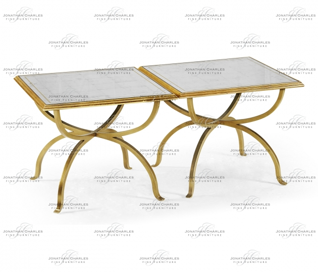small rushmore Églomisé & Gilded Iron Set of Two Tables
