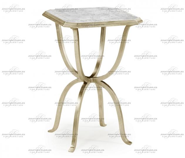 small rushmore Églomisé & Silver Iron Octagonal Side Table
