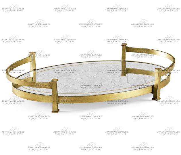 small rushmore Églomisé & Gilded Iron Oval Tray