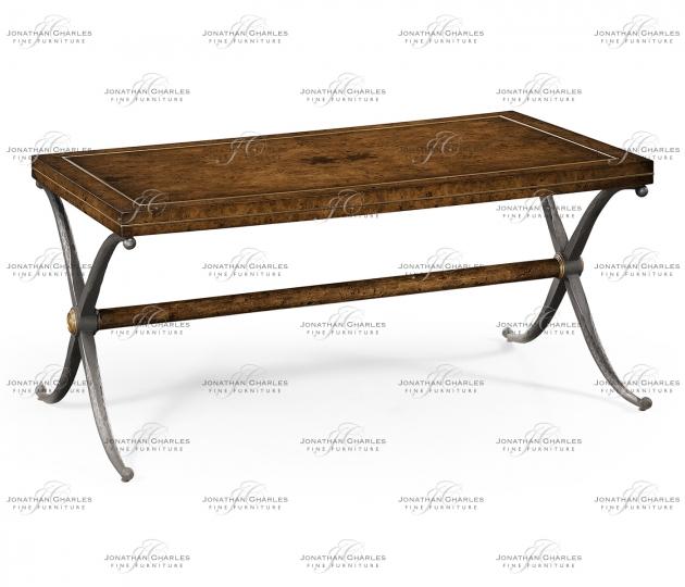 small rushmore Rustic Burl Oak Hammered Iron Rectangle Coffee Table