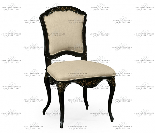 small rushmore Black & gilded floral chair (Side)