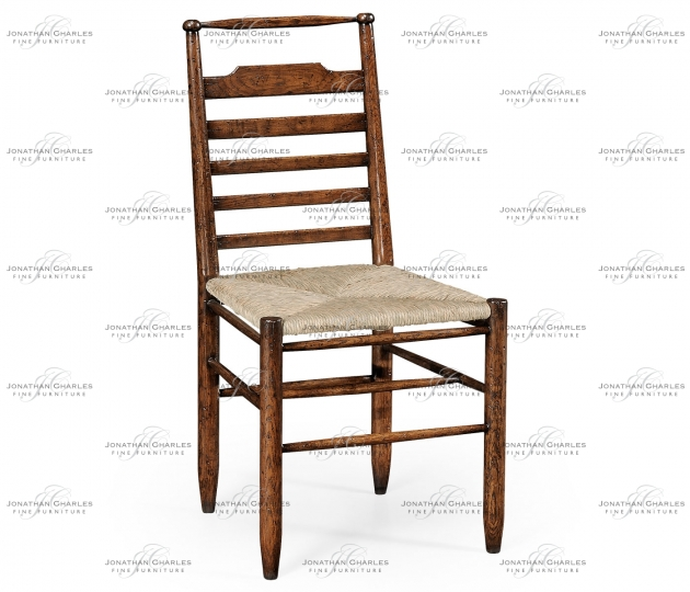 small rushmore Dark Oak Ladder Back Country Side Chair with Rushed Seat