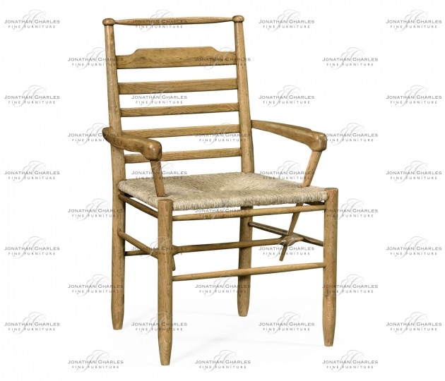 small rushmore Natural Oak Ladder Back Country Arm Chair with A Rush Seat