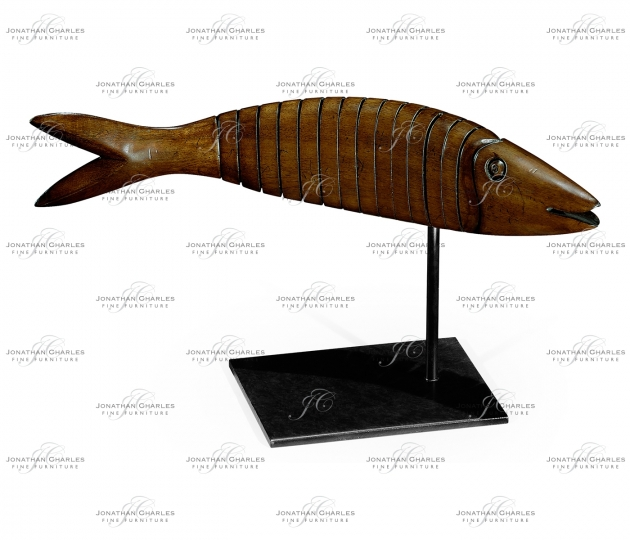 small rushmore Articulated Walnut Fish on Stand