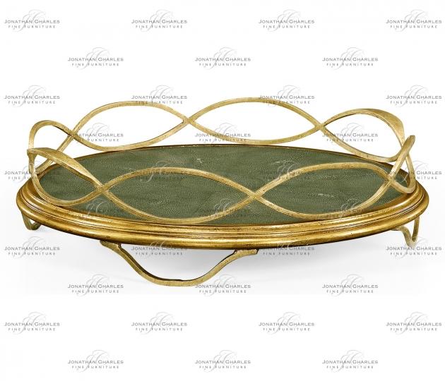 small rushmore Green Faux Shagreen & Gilded Iron Circular Tray