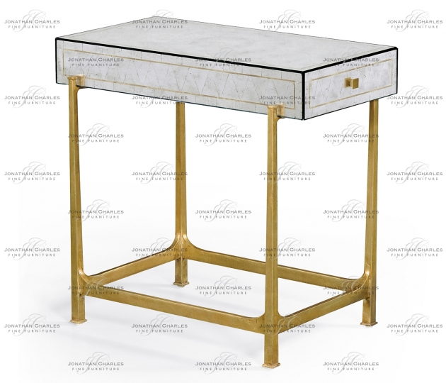small rushmore Églomisé & Gilded Iron Box Top Side Table
