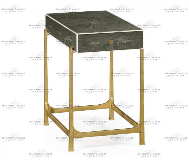 small rushmore Anthracite Faux Shagreen & Gilded Iron Side Table