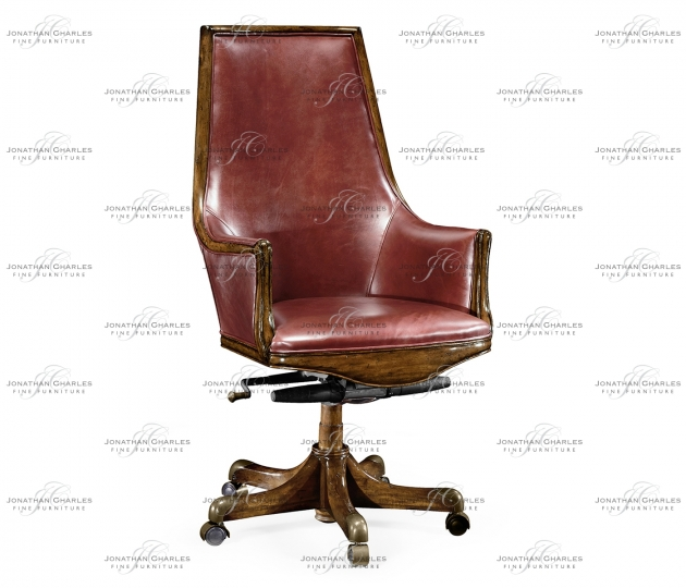 small rushmore High Backed Walnut Office Chair, Upholstered in Red Leather
