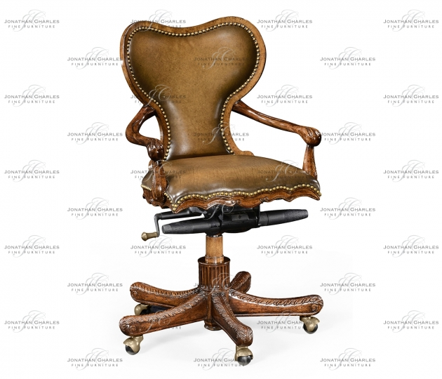 small rushmore Adjustable kidney desk chair in medium antique chestnut leather