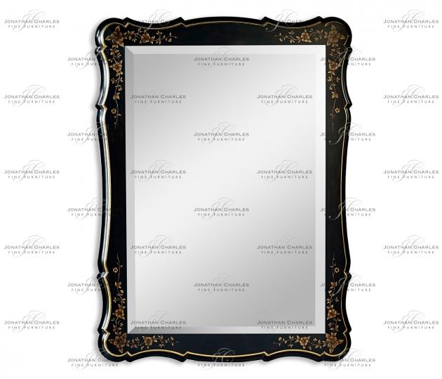small rushmore Black & gilded floral rectangular mirror