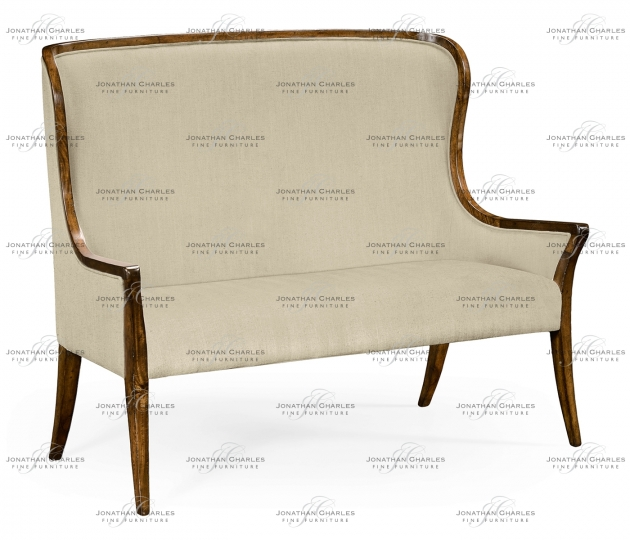 small rushmore High curved back settee, upholstered in Mazo