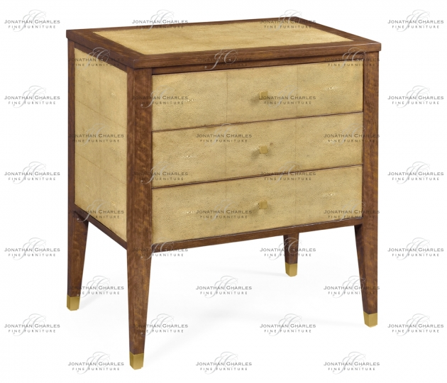 small rushmore Ivory Faux Shagreen Bedside Chest of Drawers
