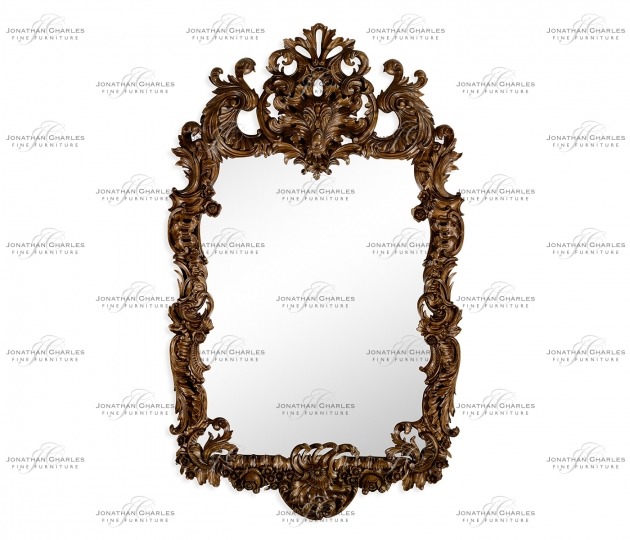 small rushmore Finely carved walnut rococo style mirror