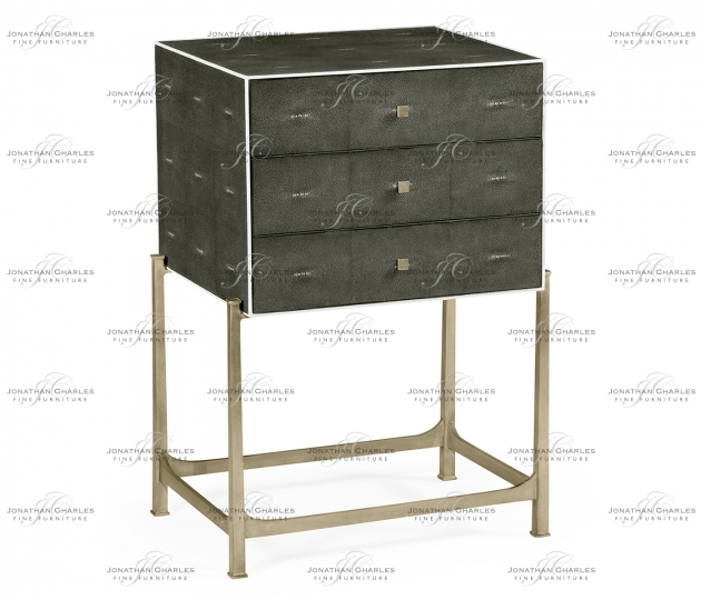 small rushmore Anthracite Faux Shagreen & Silver High Chest of Drawers