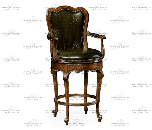 small rushmore Revolving barstool green leather (Arm)