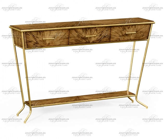small rushmore Argentinian walnut veneered tapering console