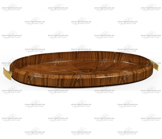 small rushmore Art Deco High Lustre Oval Tray with Brass