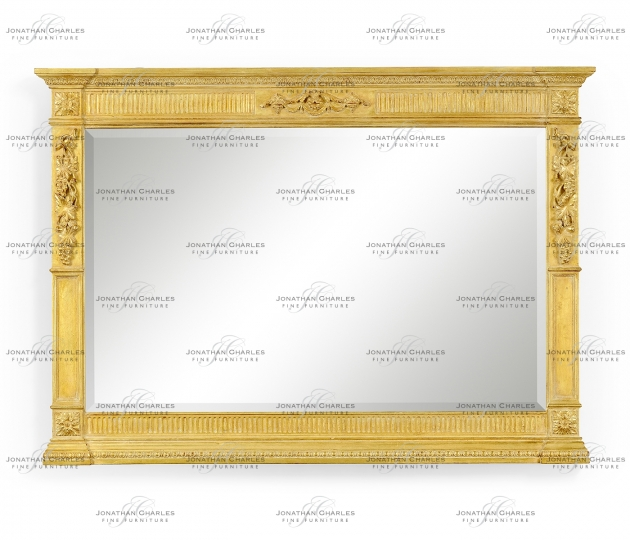 small rushmore Empire style gilded overmantle mirror
