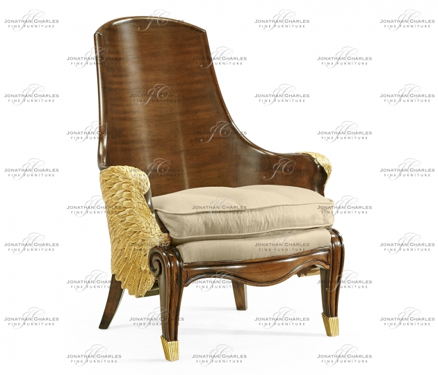 small rushmore Empire Style Winged Chair, Upholstered in MAZO