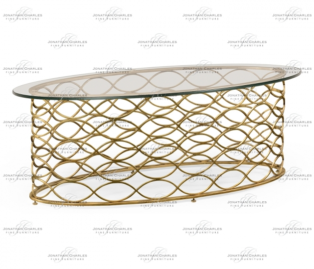 small rushmore Interlaced gilded & glass oval coffee table