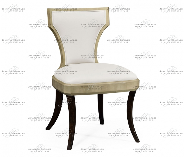 small rushmore Art Deco Champagne Side Chair, Upholstered in Cream Leather
