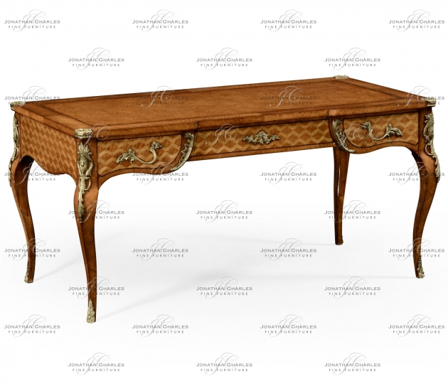 small rushmore Satinwood and marquetry bureau plat