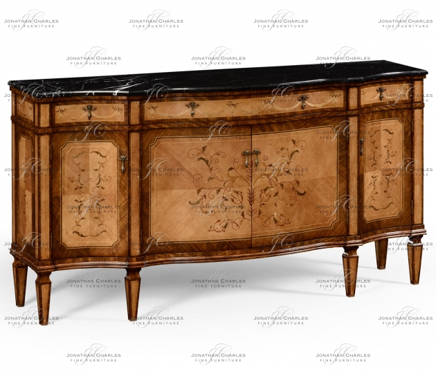 small rushmore Satinwood serpentine sideboard with floral inlay