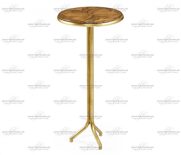 small rushmore Argentinian walnut veneered circular lamp table