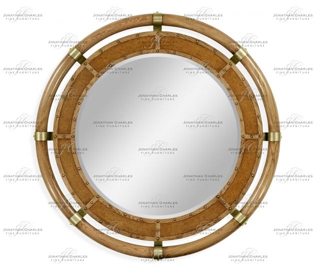 small rushmore Circular Nautical Style Oak and Leather Mirror