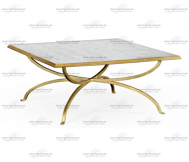 small rushmore Églomisé and Gilded Square Coffee Table