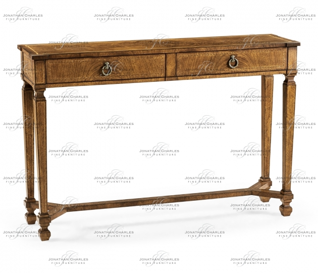 small rushmore Empire style walnut two drawer console