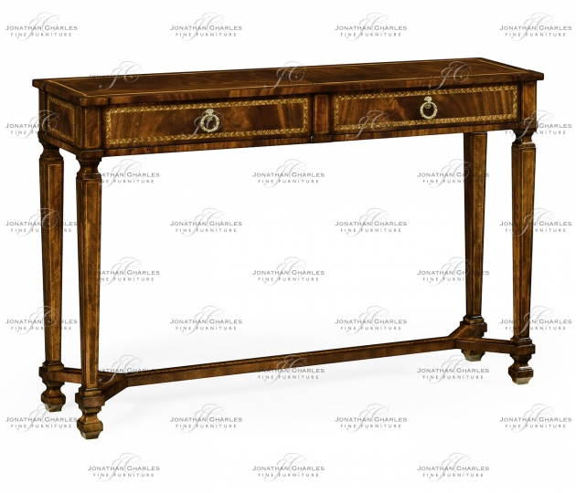 small rushmore Empire style mahogany two drawers console