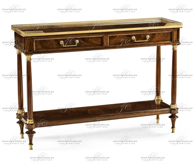 small rushmore French style Mahogany console with brass gallery