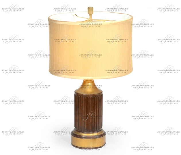 small rushmore Round fluted mahogany table lamp