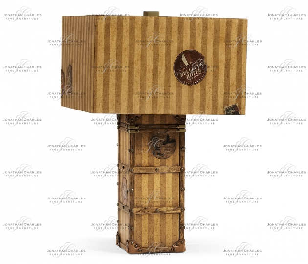 small rushmore Striped Travel Trunk Style Table Lamp