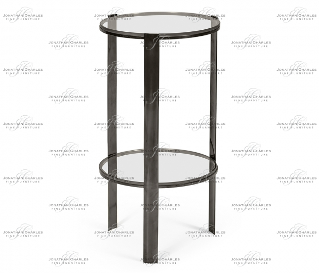 small rushmore Small Circular Black Nickel Side Table with Clear Glass