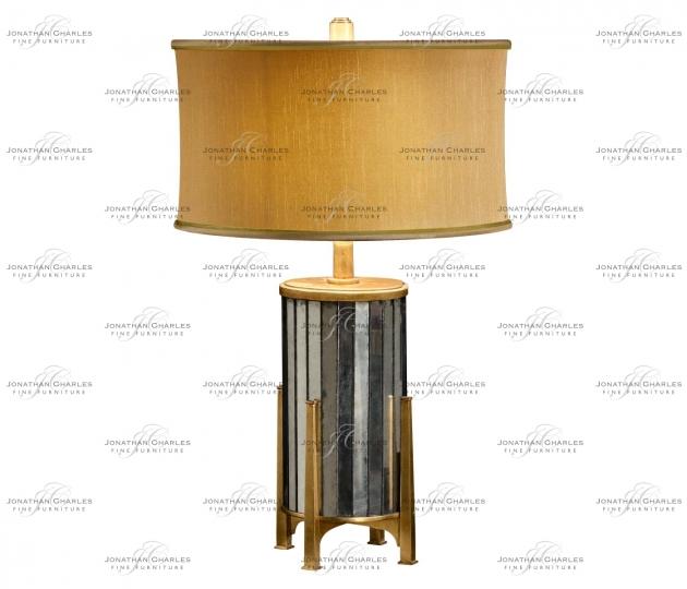 small rushmore Églomisé and Gilded Metal Table Lamp