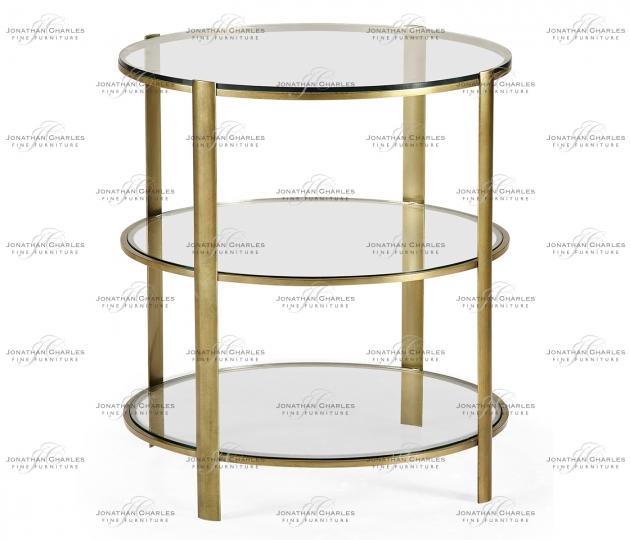small rushmore Brass & Glass Circular Side Table