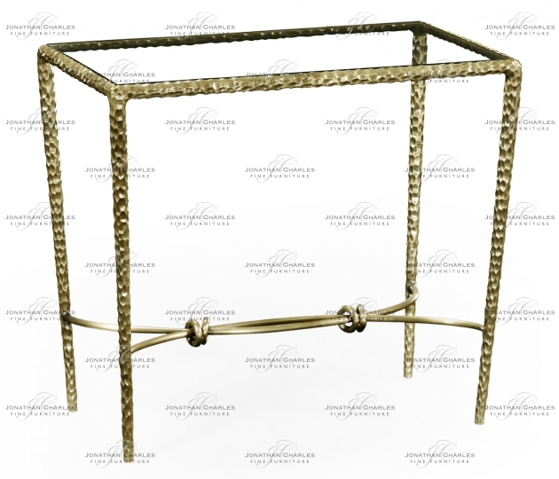 small rushmore Hammered Light Brown Brass Rectangular Side Table