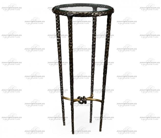 small rushmore Bronze Finish Hammered Iron Circular Wine Table