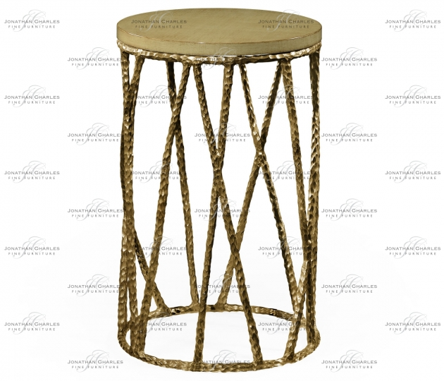 small rushmore Hammered Light Brown Brass Wine Table with Celadon Top
