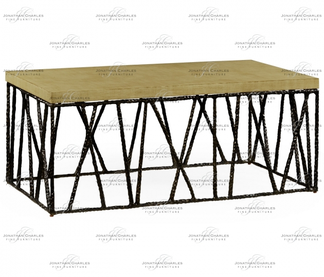 small rushmore Hammered Antique Black Brass Coffee Table with Celadon Top