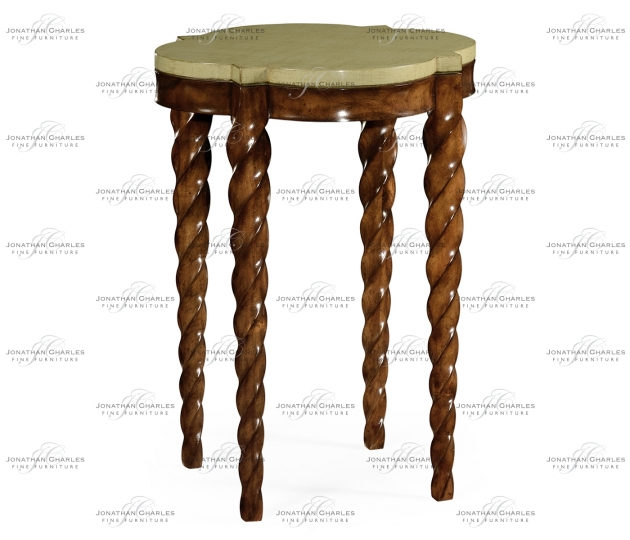 small rushmore Walnut twisted side table with celadon top