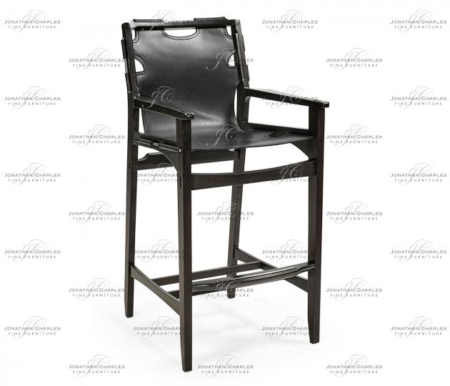 small rushmore Midcentury Style Slung Black Leather & Black Mocha Oak Bar Stool