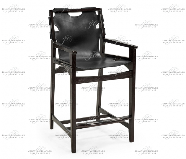 small rushmore Midcentury Style Slung Black Leather & Black Mocha Oak Counter Stool