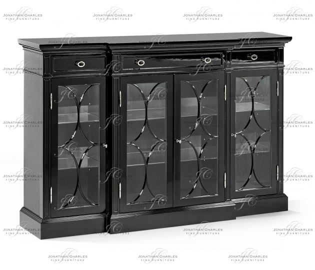 small rushmore Madison Four Door Breakfront Piano Black & White Brass Display Cabinet