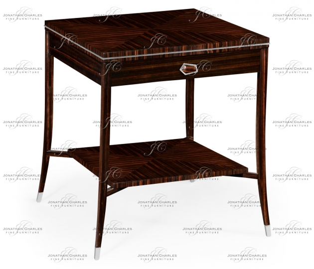 small rushmore Macassar Ebony End Table with White Brass Detail