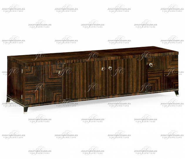 small rushmore Macassar Ebony TV Cabinet with White Brass Detail
