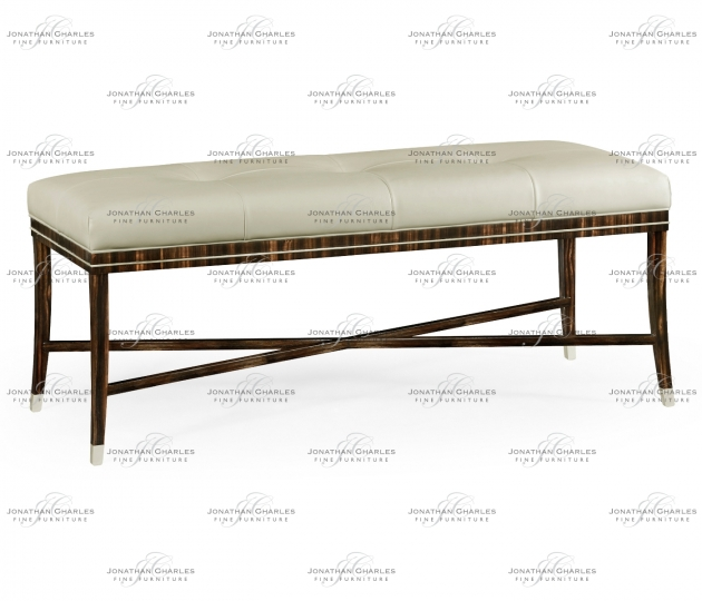 small rushmore Macassar Ebony Bench, Upholstered in White Leather