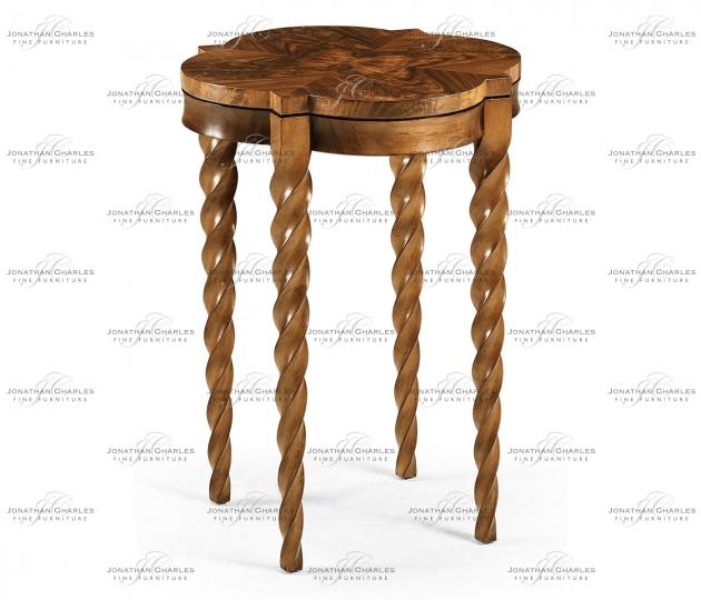 small rushmore Walnut Barleytwist Quatrefoil Side Table